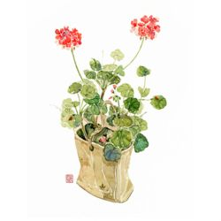 DIY명화그리기세트 붉은 꽃과 화분 40x50 물감2배 컬