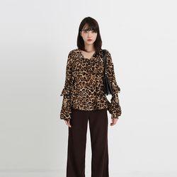leopard frill blouse (2colors)