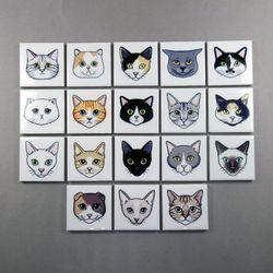 고양이 얼굴 마그넷 귀여운 냉장고 자석 18종