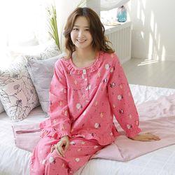 쁘띠쁘랑인디언프렌즈 피치기모 캐주얼여성잠옷