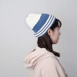 뾰족이 배색 모자 - 대바늘 키트