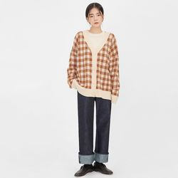 over check wool cardigan