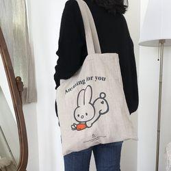 rabbit carrot 오트밀 에코백