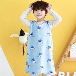 [엔비키즈] 극세사 아동 수면조끼 스카이상어