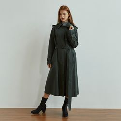 SINGLE BUTTON TRENCH COAT(DEEP GREEN)