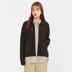 cute collar wool knit zipup