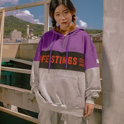 LIFE STINGS 후드 집업 purple+black+mg