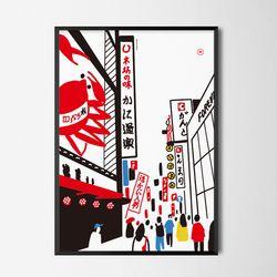 유니크 일본 디자인 포스터 M 도톤보리2 A3(중형)