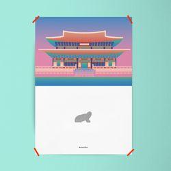 유니크 디자인 포스터 M 경복궁과 해치 A3(중형)