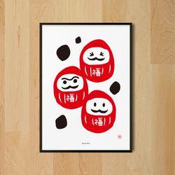 유니크 일본 디자인 포스터 M 다루마브라더스 A3(중형)