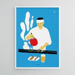 유니크 일본 디자인 포스터 M 야키토리2 A3(중형)