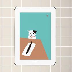 유니크 디자인 포스터 M 고양이와 꽁치 A3(중형)