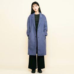 (UNISEX) 핸드메이드 싱글 울 코트 블루