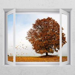 ca660-흩날리는가을나무창문그림액자
