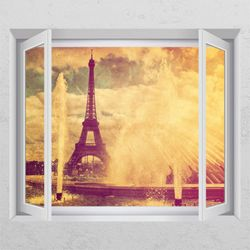 ck810-빈티지몽환에펠탑창문그림액자
