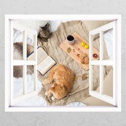 cg681-고양이의여유로운아침창문그림액자