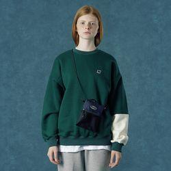 [앤커버] Color block sweatshirt-dark green
