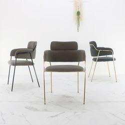 투블럭 골드프레임 카페체어 인테리어 디자인의자