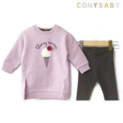 [무료배송] [CONY]아이스크림퍼플기모맨투맨 상하복세트