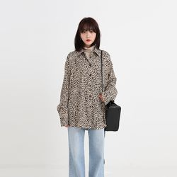 leopard boxy silky blouse (2colors)