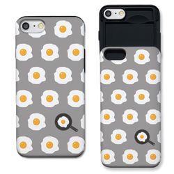 [아이폰6] 계란후라이 패턴 그레이 슬라이더 케이스