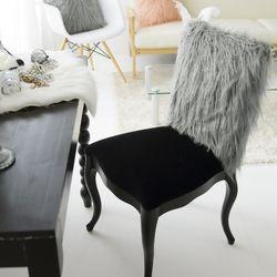 러블리 램 fur 체어커버-그레이