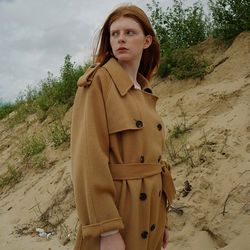 HANDMADE WOOL TRENCH COAT CAMEL