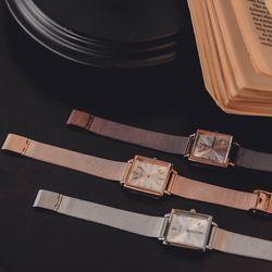 제이로렌 W0024 로맨틱 사각 로즈골드 메탈시계