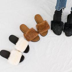 블랙 아이 밤색 발등토끼털 스웨이드 겨울 슬리퍼