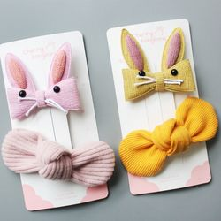 토끼 매듭 집게핀세트 유아헤어핀