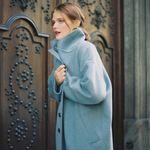 CASHMERE LONG COAT SKY BLUE