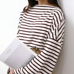 엠버 여자 루즈핏 긴팔 와이드 스트라이프 티셔츠