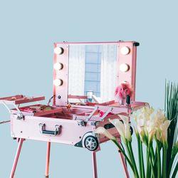 [리퍼] LED 조명 수납화장대 마이퍼펙트데이 핑크