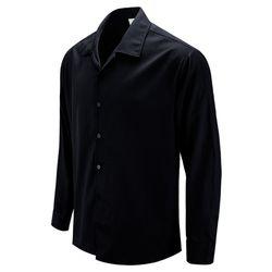 앵그리덕 오픈카라 오버핏 블랙 캐주얼 셔츠DIS026