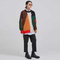 color patch knit (2 color) - UNISEX