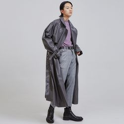 oversized leather double trench coat (2 color) - UNISEX