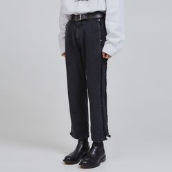 side line damage denim crop pants (2 color) - UNISEX