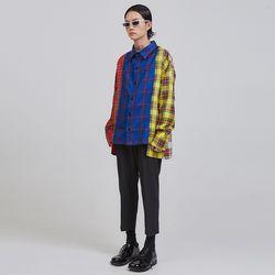 multi check pattern unbalance shirts - UNISEX