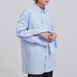 side hidden button stripe shirts (2 color) - UNISEX