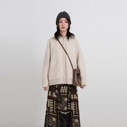 collar knit zip-up (2colors)
