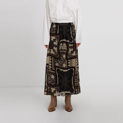 hippy pattern long skirt (2colors)