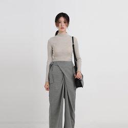 slim golgi semi neck top knit (9colors)