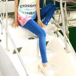 여성 요가복 필라테스 배색 블루 스포츠레깅스 ALG1034
