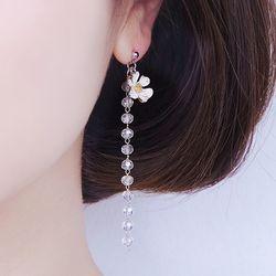 투은) (귀찌가능) 너는 꽃 크리스탈 롱 드롭 귀걸이