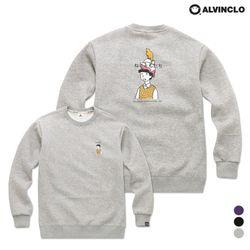 [앨빈클로] MAR-886 고양이 카툰 일러스트 기모 맨투맨