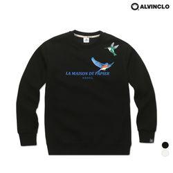 [앨빈클로] MAR-879 메이슨 버드 자수 기모 맨투맨