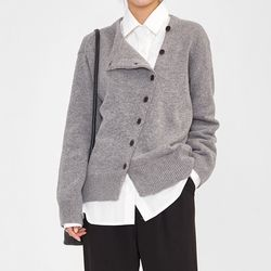 slash button wool cardigan