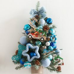 블루별벽걸이트리 60cm P(크리스마스트리)