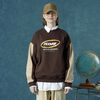 Round logo sweat shirt-brown