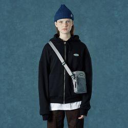 [앤커버] Rubber logo hoodie zipup-black